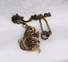 Wire Wrap Necklace Flying Dragon Ball Metal Beads Small Pendant OOAK Art Jewelry #Jeanninehandmade #Wrap