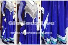 Royal blue color dress silver hand embroidery work on neckline  allover shimmering  , Blue pure chiffon  tunic top has been embellished with dull silver ,  with floor length features heavy and abundant...Silver sequins elements giving pretty looks..