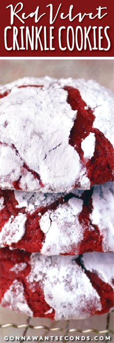 Super moist, fudgy, Red Velvet Crinkle Cookies with an unusual ingredient that gives them a really amazing texture! The color is a lovely deep red and contrasts gorgeously with the white powdered sugar crackle. The flavor is, just the right amount chocolaty and, overall, wonderfully Red Velvet.