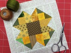 What better way to beat the heat than by staying inside and sewing a scrappy sunflower quilt block?