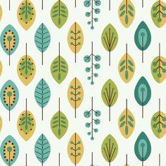 York Wallcoverings KB8528 Retro Leaves Wallpaper White / Teal Blue / Mustard Yellow Home Decor Wallpaper Wallpaper