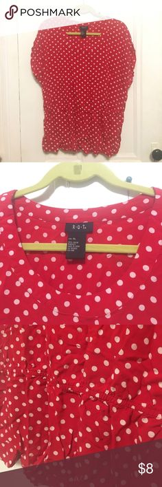 RQT Red Polka Dot Top Red polka dotted top from RQT, size XL. It has short, almost cap sleeves with an elastic cinched waistband. Gently used. RQT Tops Blouses