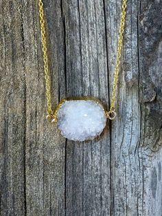 Quartz Druzy Necklace with LOVE Charm by JewelryByKrystle on Etsy, $26.00