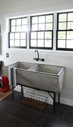 FRIENDS!!!  It's is finally time for my LAUNDRY ROOM REVEAL! This space has been so fun to create because we started from scratch.  Last fall, we added this room to the back of our house, and I designed it to fit our needs.  Here are the main areas that I wanted my laundry/mud room to ... Read More about Modern Farmhouse Laundry Room Reveal!