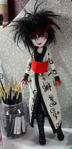 COMMISION SLOT  Goth Rocker Tribute OOAK Art by Refabrications #siouxsiesioux #artdoll #refabrications #siouxsiedoll #goth #gothic #punk #kimono