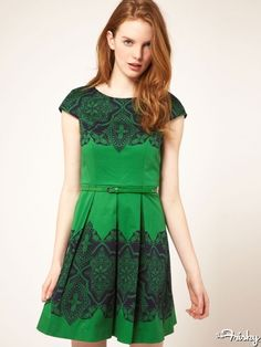 Oasis Placement lace dress with skinny belt, $116.38