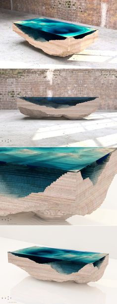 Amazing Abyss Table Layers Glass and Wood to Mimic the Depths of the Ocean Blue by Duffy London (via @inhabitat)