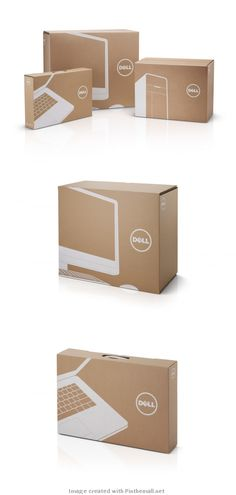 French design firm Mucho creates a new packaging identity system for Dell that features simple 1-color printing on kraft cardboard.
