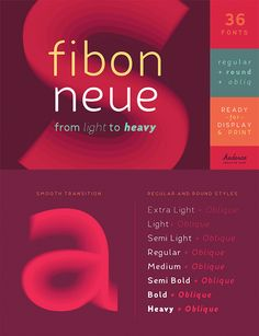 Fibon Neue by Hederae Creative Shop, a sans serif font with thin to black weights. One of the thin rounded fonts I recommend for feminine designs in this roundup of feminine font trends for 2016.