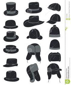 79131d4a4ac Men s hats icon set - stock vector English Hats