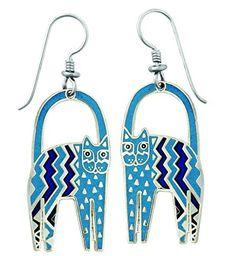 LAUREL BURCH Gato de Zig Zag cloisonné drop earrings in silver from Studio Totemic™