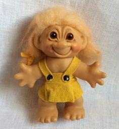 "Thomas Dam Girl Troll Doll USA Foreign Pat Pending Denmark 5 1/2"" Vintage Orig #Dam #DollswithClothingAccessories"