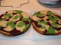 How to make a camouflage cake, inside and out! <------- Ricky will LOVE this!!