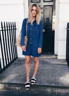 Denim jumpsuit with espadrilles and suede Chloe bag