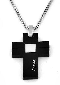 Classica collana con croce in acciaio inossidabile e rivestimento in ceramica