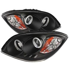 Black Chevy Chevrolet Cobalt Pontiac Pursuit [Ccfl Halo] LED DRL Daytime Running Lights Front Projector Headlights Headlamps Replacements Both Driver Passenger Sides Left Right Pair Set w/ Low Beam High Beam Bulbs 2006 2007 2008 2009 05 06 07 08 09 10 Projector Headlights, Led Projector, 2007 Chevrolet Cobalt, Black Porsche, Chevrolet Tahoe, Chevrolet Auto, Led Tail Lights, Black Smoke, Truck Accessories