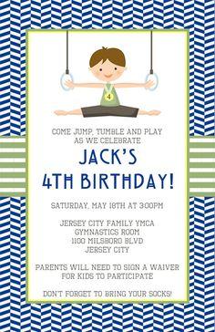 Gymnastic Invitation Gymnastics Birthday Party