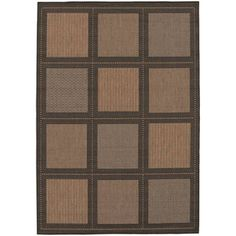 @Overstock - Recife Summit Cocoa and Black Rug (5'10 x 9'2) - This Recife Summit area rug is designed to make entryways and patio decks warmer and more inviting with shades of cocoa and black. This rug is power-loomed of all-weather, pet-friendly, mold- and mildew-resistant polypropylene.  http://www.overstock.com/Home-Garden/Recife-Summit-Cocoa-and-Black-Rug-510-x-92/7716190/product.html?CID=214117 $139.00