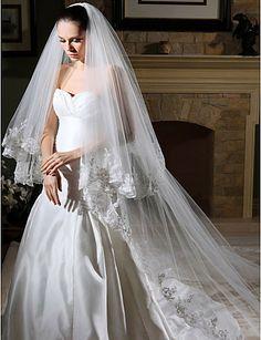 Livraison gratuite avec de la dentelle voile de mariée cathédrale/perles voile de mariée/mariage, birdcage