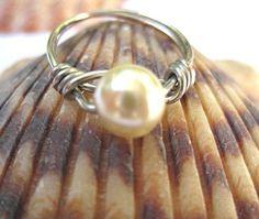 Petite birthstone ring June white glass pearl by SunshineDaydreamz