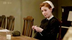 fictionalcharactersknitting: Ethel knits in Downton Abbey's fourth episode of season two. Submitted by duckieoverblane.