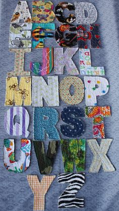Here are some Rag quilt letters you could look at to get an idea on how to per-sew the letters before applying them to your quilt. As you see they are pretty simple in design. DLW