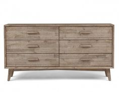 Seattle is a timeless piece with a modern touch. Made of textured solid acacia wood, this rustic chest aligns perfectly with the French farmhouse trend, but offers an element of surprise in its angled legs.   With 6 drawers on metal slides, Seattle holds all the space you need. Pair it with the other items from Structube's Seattle collection for a most inviting feel.