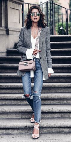 Annabelle Fleur + gorgeous androgynous style + bell sleeved white tee + distressed denim jeans + smart grey blazer + perfect hybrid of smart and casual! Brands not specified.