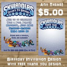 Skylanders Inspired Birthday invitation with FREE thank you 5x7 or 4x6 size - My Site