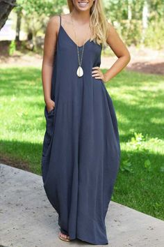 Navy Blue Loose Cami Maxi Dress