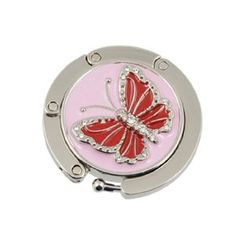 Amico Rhinestone Studded Red Butterfly Decor Folding Handbag Hook Hanger by… Bag Hanger, Red Butterfly, Butterfly Decorations, Home Hardware, Made Of Wood, You Bag, Bright Pink, Cleaning, Desks