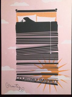 Gig poster promoting a concert for Courtney Barnett at Varsity Theater, Minneapolis, MN 18 x 24 three color screen print (white, orange and dark gray) on French Poptone Pink Lemonade 100 VERY LAST ONE IN STOCK. Courtney Barnett, Concert Posters, Music Posters, Band Posters, Communication Art, Tour Posters, Album Design, Design Competitions, Minimalist Poster