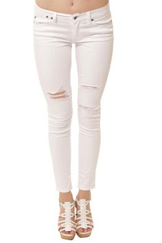 Audrey Mid Rise Destructed Skinny- White