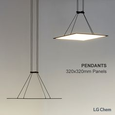 These are Pendant Lamp with LG Chem OLED light panels. The panel can… Cool Lighting, Chandelier Lighting, Lighting Design, Luminaire Led, Led Lampe, Ceiling Light Fixtures, Ceiling Lights, Oled Light, Powder Room Lighting