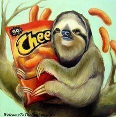 Sloth with Cheetos Print. $39.00, via Etsy.    STILL WANT