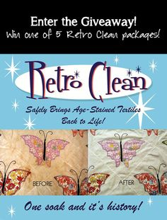 "Retro Clean is the amazing vintage linen cleaner I use. Hop on over to see the ""before"" and ""after"" photos and enter our giveaway!"