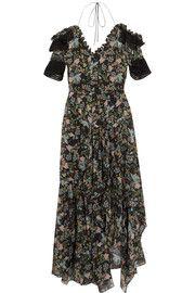 Dana ruffled floral-print silk-georgette midi dress