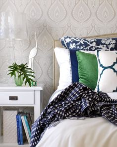 Luxe Addition | By Lisa Marinovich Bedroom, navy and white, green.
