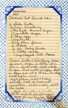 Fun Baking Recipes, Retro Recipes, Old Recipes, Vintage Recipes, Sweet Recipes, Baking Desserts, Health Desserts, Pound Cake Recipes, Recipes