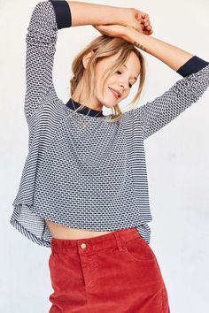 BDG Ringer Swing Pullover Sweater - Urban Outfitters