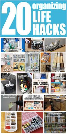 20 Organizing Life Hacks - How to Nest for Less™ 20 organizing life hacks. Aaah, why didn't I think of some of these! Some of these will work great in the classroom too! Do It Yourself Organization, Organizing Your Home, Organising, Organizing Tips, Organisation Hacks, Storage Organization, Garden Organization, Household Organization, Household Chores