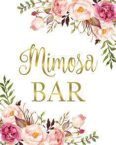 picture about Free Printable Mimosa Bar Sign titled 13 Ideal Mimosa bar signal illustrations or photos within 2017 Pair shower, Little one