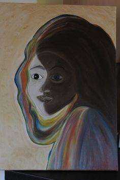 Tableau Huile Abstrait Homme/Femme/Masque/Visage/Face 46 x 55 cms : Peintures par mimipeint