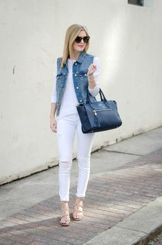 All White & A Denim Vest - Life With Emily