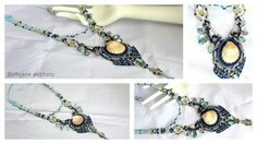 #new #sparkly #macrame #necklace #with #natural #shell #Swarovski #crystals ※◎※◎※◎※