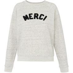 Whistles Merci Embroidered Sweatshirt, Grey Marl (295 BRL) ❤ liked on Polyvore featuring tops, hoodies, sweatshirts, sweaters, shirts, raglan sweatshirt, patterned sweatshirt, raglan top, marled sweatshirt and grey sweatshirt