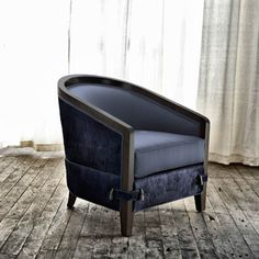 Chair no. Sixty Six, in Blue, style inspired by a barrel chair, tub chair, occasional chair, curved black chair...