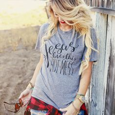 """Jesus Loves This Hot Mess"" Triblend Tee- GRAY/BLACK – Be Still Clothing Company"