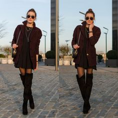 Lisa Fiege - Buffalo Boots, H&M Tights, Asos Dress, H&M Coat, Aigner Bag, Alexander Mcqueen Bracelet - Down to this