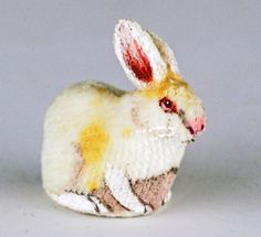 Dollhouse Miniature White Rabbit by Artist Mary Hoot Signed and Dated 1983